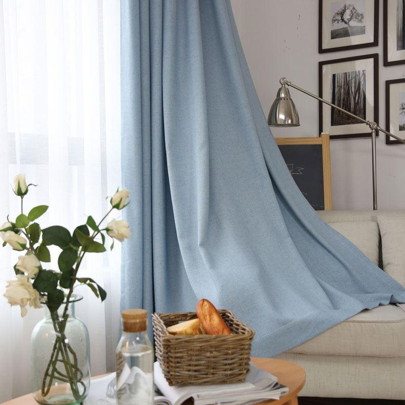 rideau occultant en coton lin bleu pour chambre a coucher simple moderne
