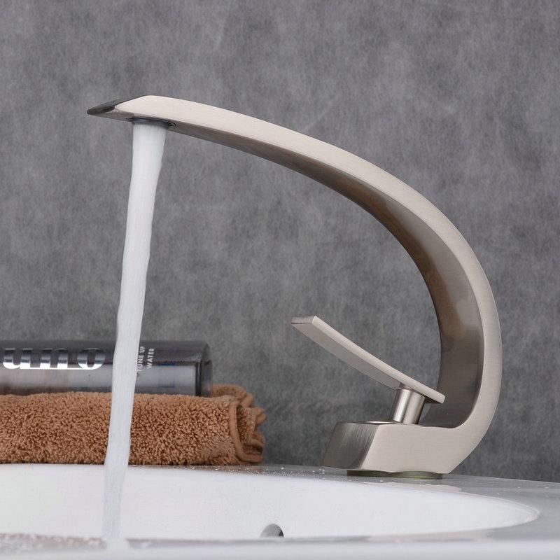mitigeur de lavabo inox brosse h 23 cm pour salle de bains toilettes