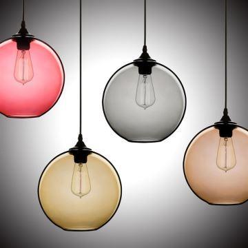 suspension bulle verre d25cm 60w bulle coloris luminaire cuisine decoratif pas cher
