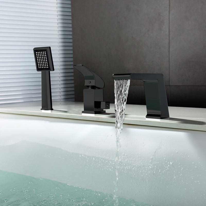 mitigeur de baignoire cascade avec douchette cuivre h12cm 3 trous noir pour salle de bains