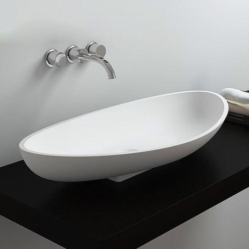 Vasque A Poser En Pierre Artificielle Ovale Biscornu Pour Salle De Bains