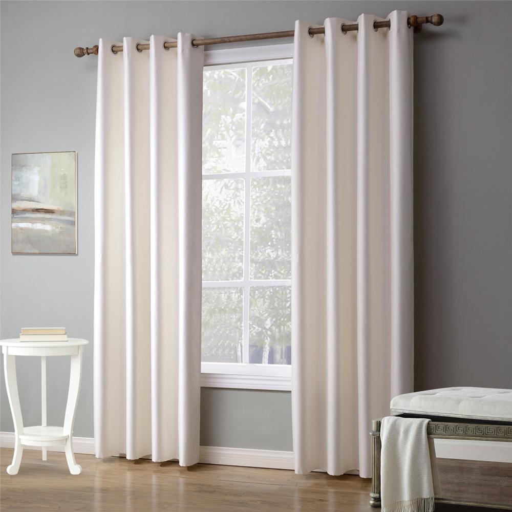 rideau occultant en polyester blanc