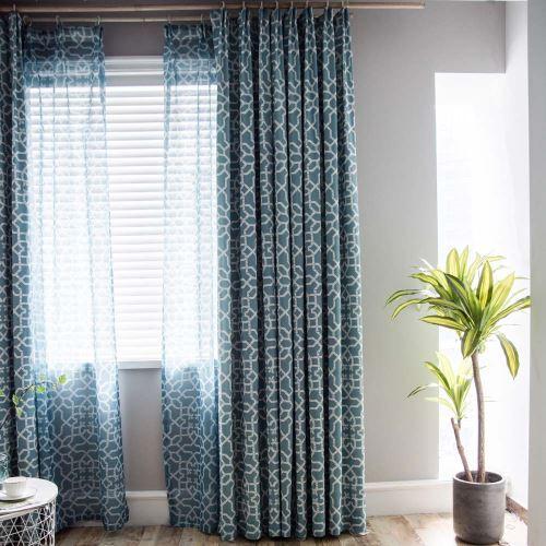 rideau tamisant imprime motif geometrique bleu polyester coton pour chambre a coucher