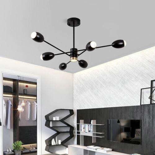 lustre moderne noir abat jour en acrylique pour salon salle d etude