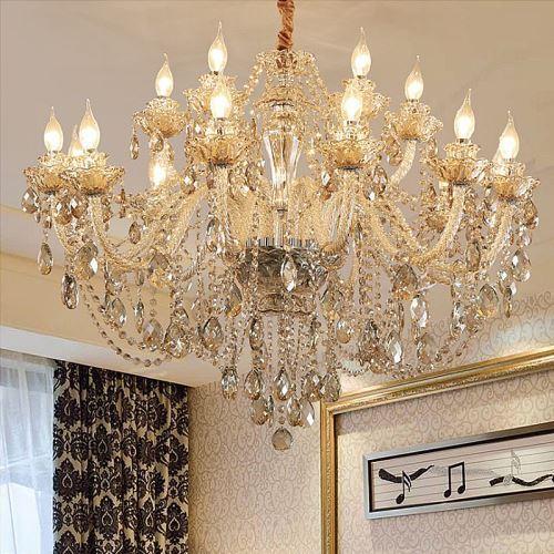 lustre baroque en verre cristal couleur cognac pour chambre salle a manger