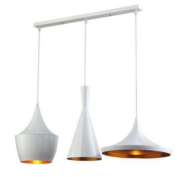 lustre plafonnier a 3 lampes suspensions style industriel en aluminium blanc l77cm luminaire cuisine restaurant