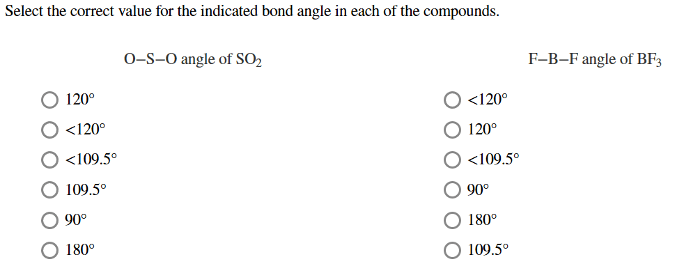 Select the correct value for the indicated bond angle in