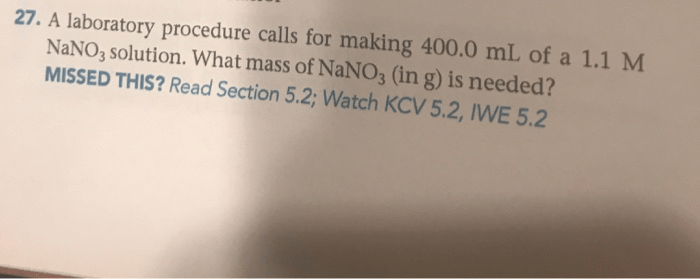 23. What is the molarity of NO3-in each solution? MISSED THIS? Read Sections 5.2. 5.4; Watch... - HomeworkLib