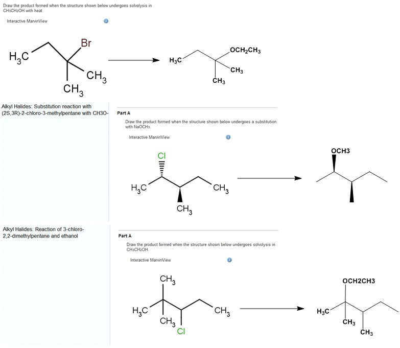Draw the product formed when the structure shown below undergoes solvolysis in CH3CH2OH with heat. Interactive... - HomeworkLib