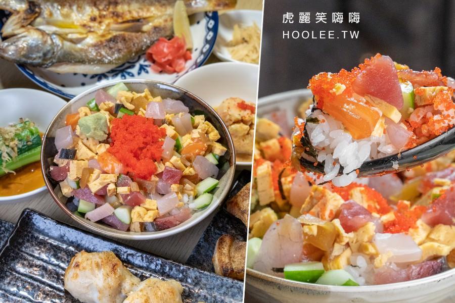 築饌日式料理(高雄)人氣定食套餐!整碗大爆滿生魚散壽司,加卡滋卡滋蝦卵及玉子燒