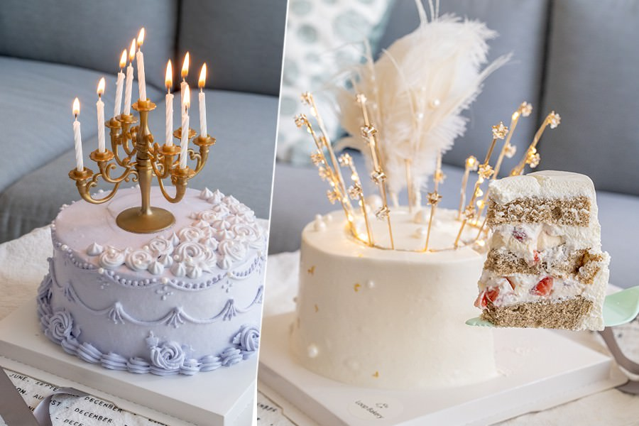 Loop圈圈(高雄)客製化復古蛋糕!超夢幻發亮星星草莓卡士達,浪漫系芋頭餡生日蛋糕