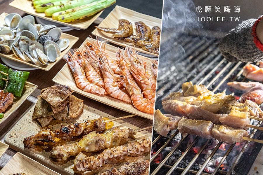 夯肉寓所(高雄)串燒烤肉宵夜店!隱藏版小GG四重奏,海鮮必點草蝦和爆卵香魚
