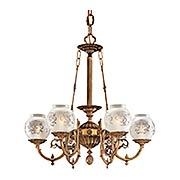English Victorian 6 Light Chandelier With Etched Glass Shades Item Rs 03ml