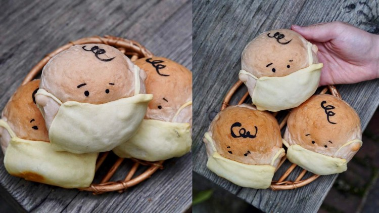 『房角石麵包咖啡手作』新推出的「口罩布朗麵包」實在是可愛度爆表!