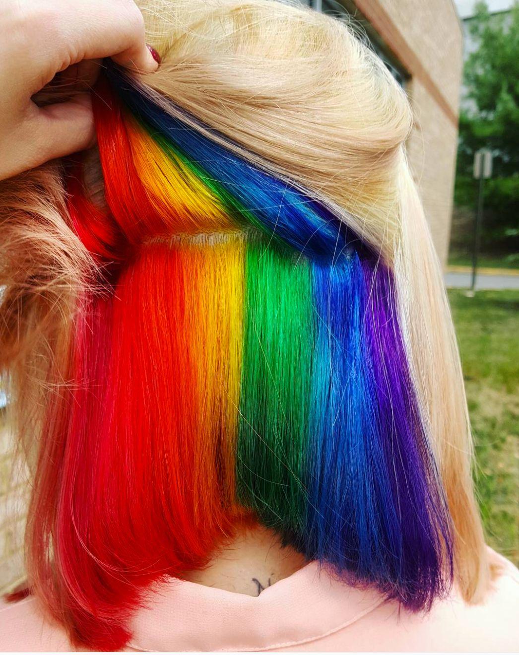 'hidden rainbow' hair trend