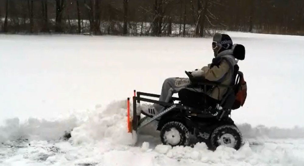 jet 7 power chair black leather office man who designed snow plow for his wheelchair is the