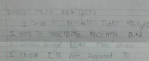 Girl Writes Adorable Note To Park Rangers Apologising For
