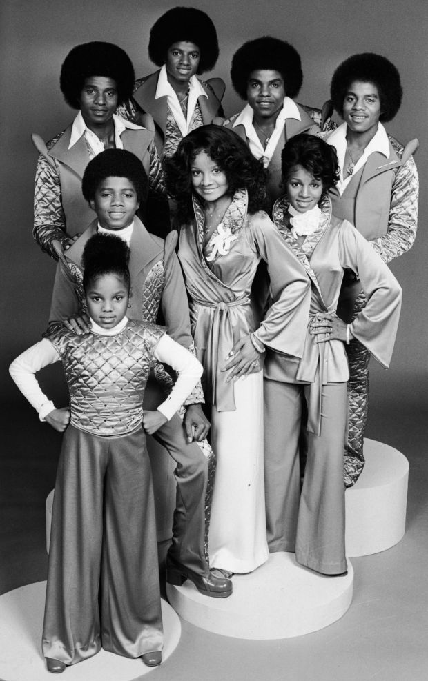 Promotional portrait of the Jackson family. Clockwise from lower row, left: Janet, Randy, Jackie, Michael, Tito, Marlon, LaTo