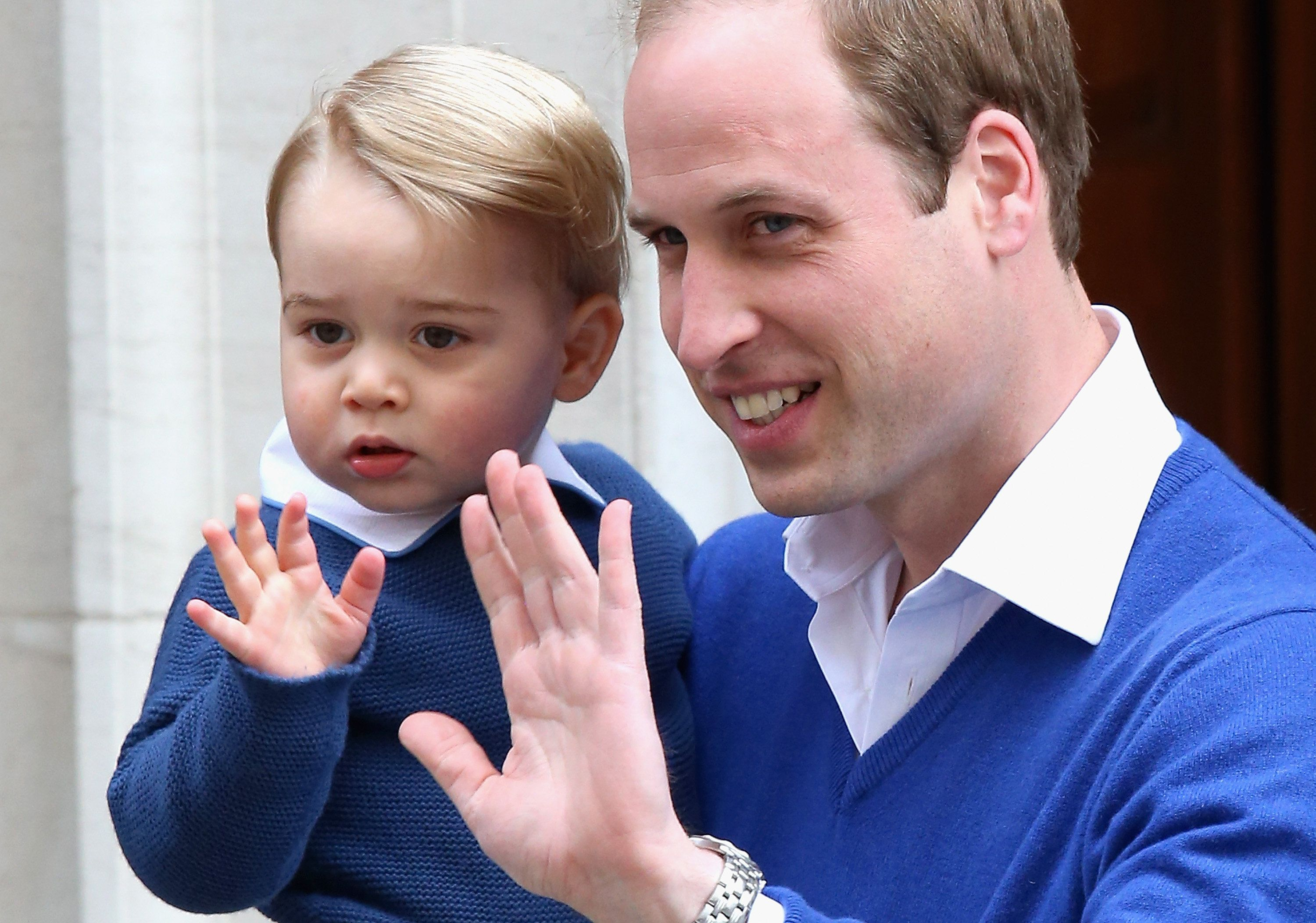 Prince William and Prince Georgeat St. Mary's hospitalafter Princess Charlotte's birth on May 2, 2015, in London,
