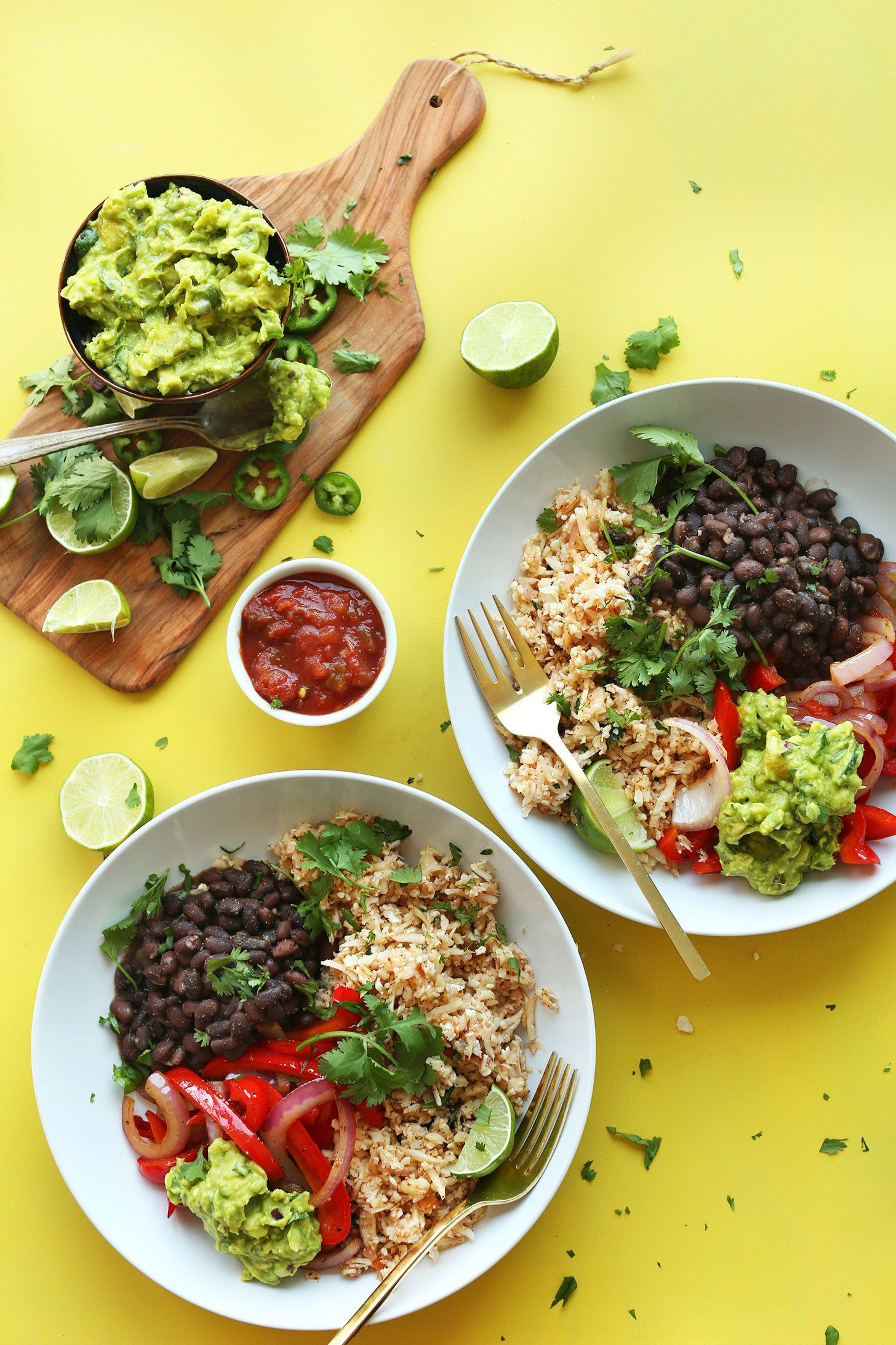 "<strong>Get the <a href=""http://minimalistbaker.com/cauliflower-rice-burrito-bowl/"" target=""_blank"">Cauliflower Rice Burrito"
