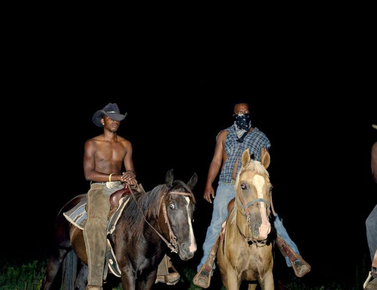 """Deana Lawson, """"Cowboys,"""" 2014, inkjet print mounted on Sintra, courtesy the artist and Rhona Hoffman Gallery"""