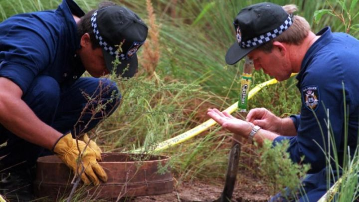 Forensic Police search for clues, where Ciara Glennon's body was found.