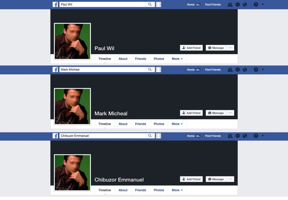 These Facebook profiles existed simultaneously, all using the same photo.
