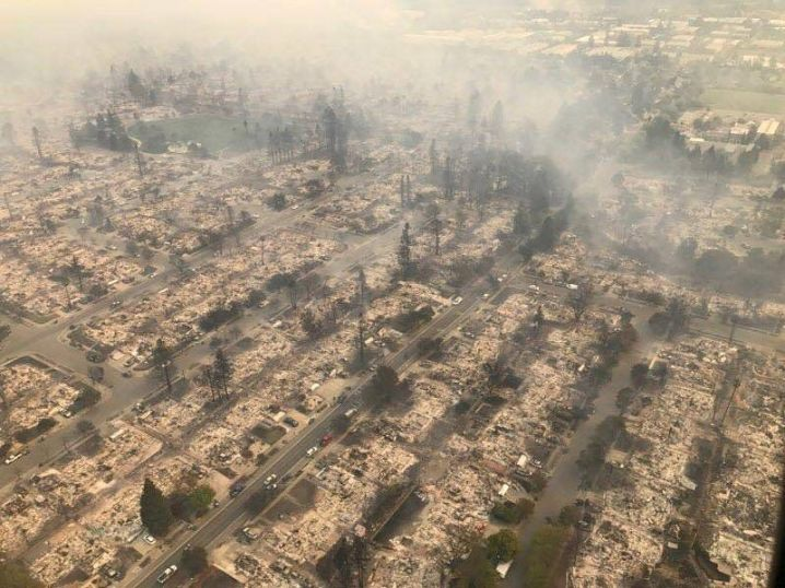 An aerial photo of the devastation left behind from wildfires in Northern California, Oct. 9, 2017.