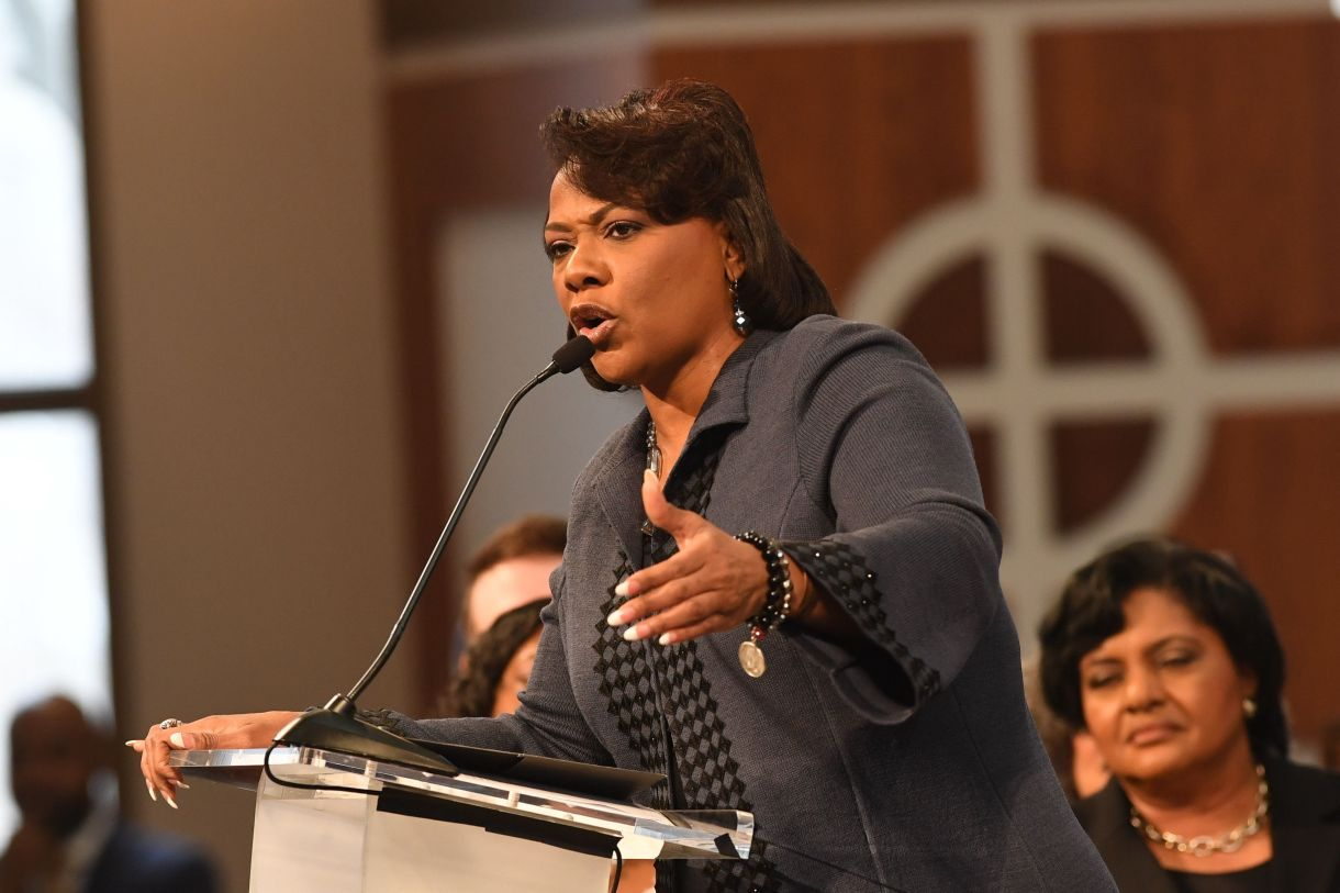 Bernice King speaks at the Martin Luther King Jr. annual commemorative service at Ebenezer Baptist Church on Jan. 16, 2017 in