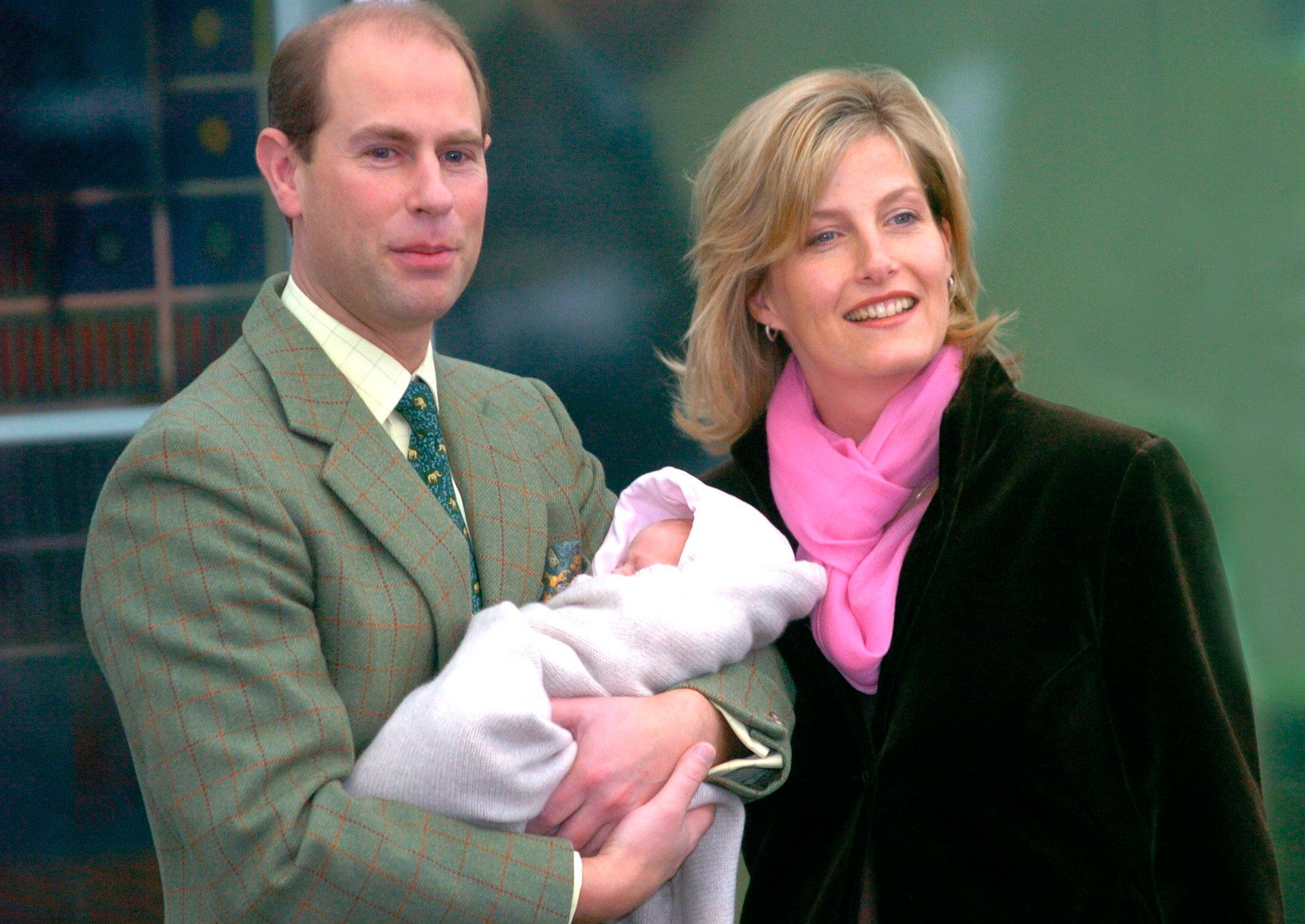 Edward and Sophie,Countess of Wessex, whom he married in 1999, showed off their newborn daughter, Lady Louise Windsor,