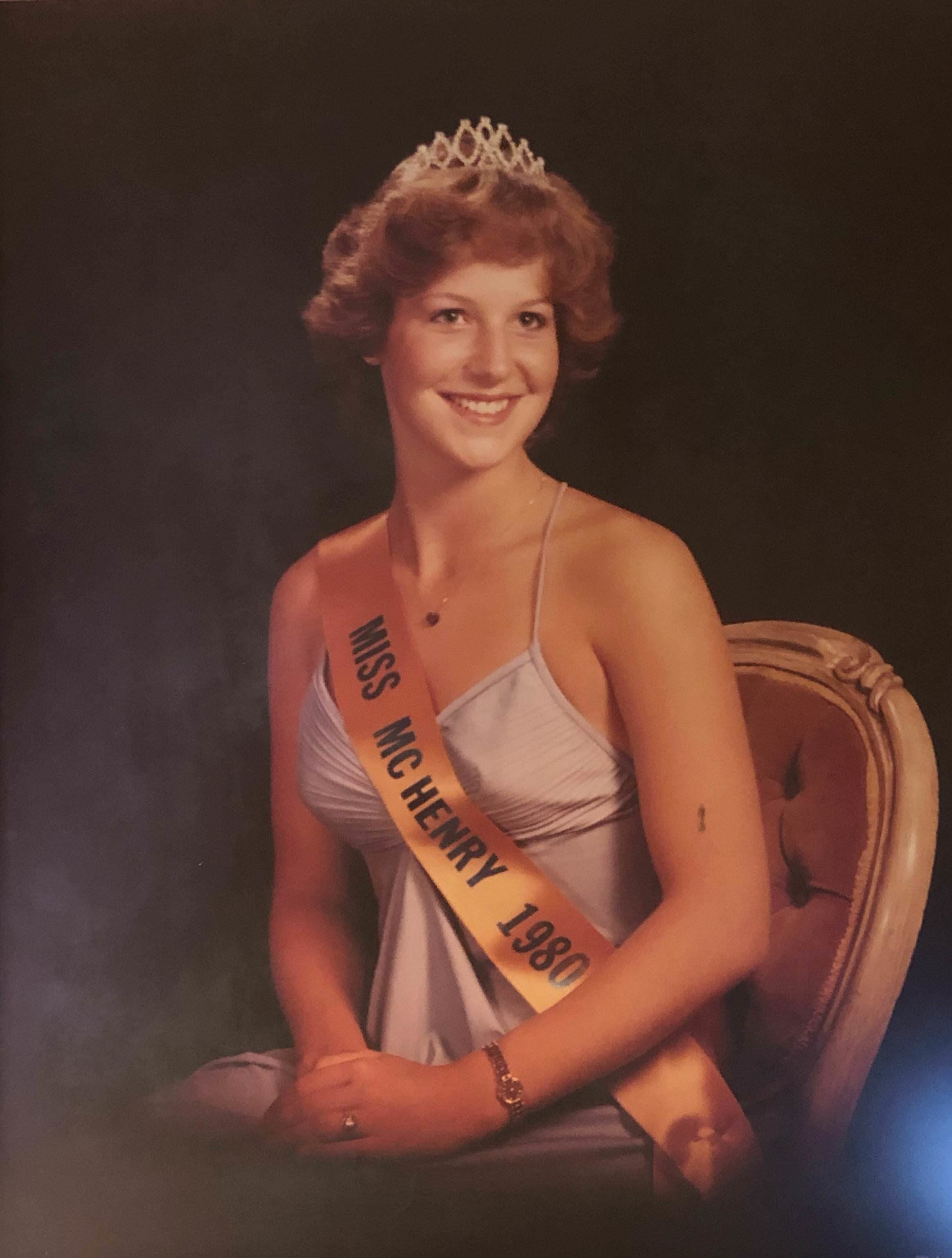 """""""This is a photo of my mom, Lisa Grimmonpré Palmer, in 1980 after she won the Miss McHenry County (Illinois, just outs"""