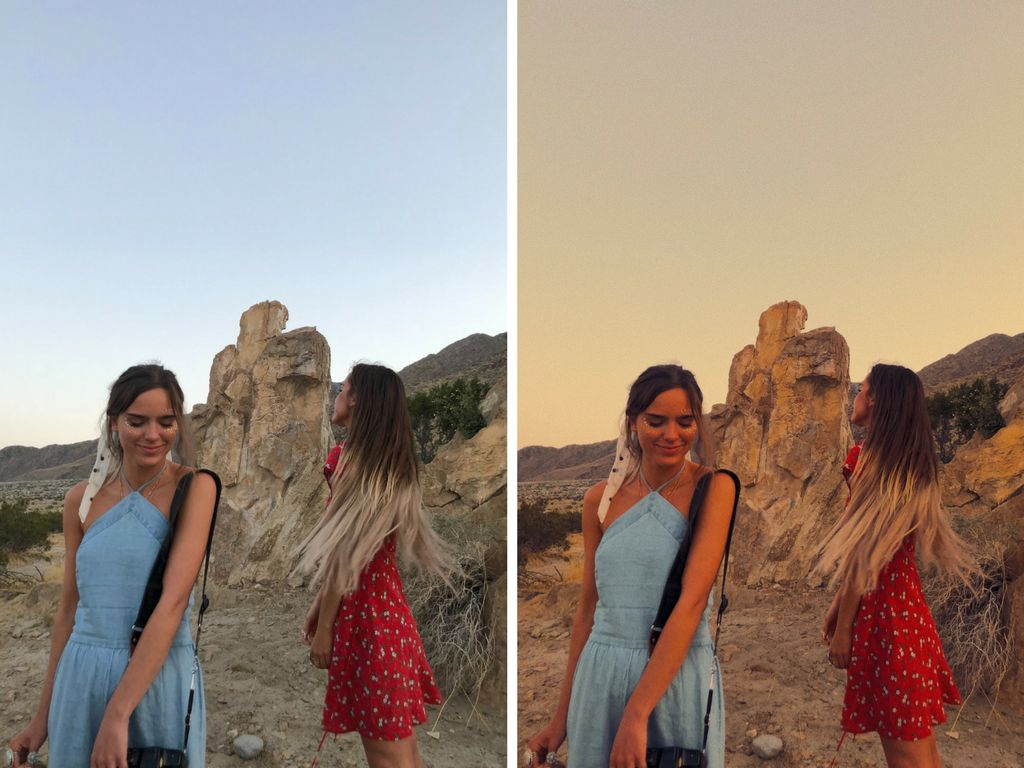On the right is the sisters' unedited photo, and on the left is the same image filtered with the L11 filter in VSCO.