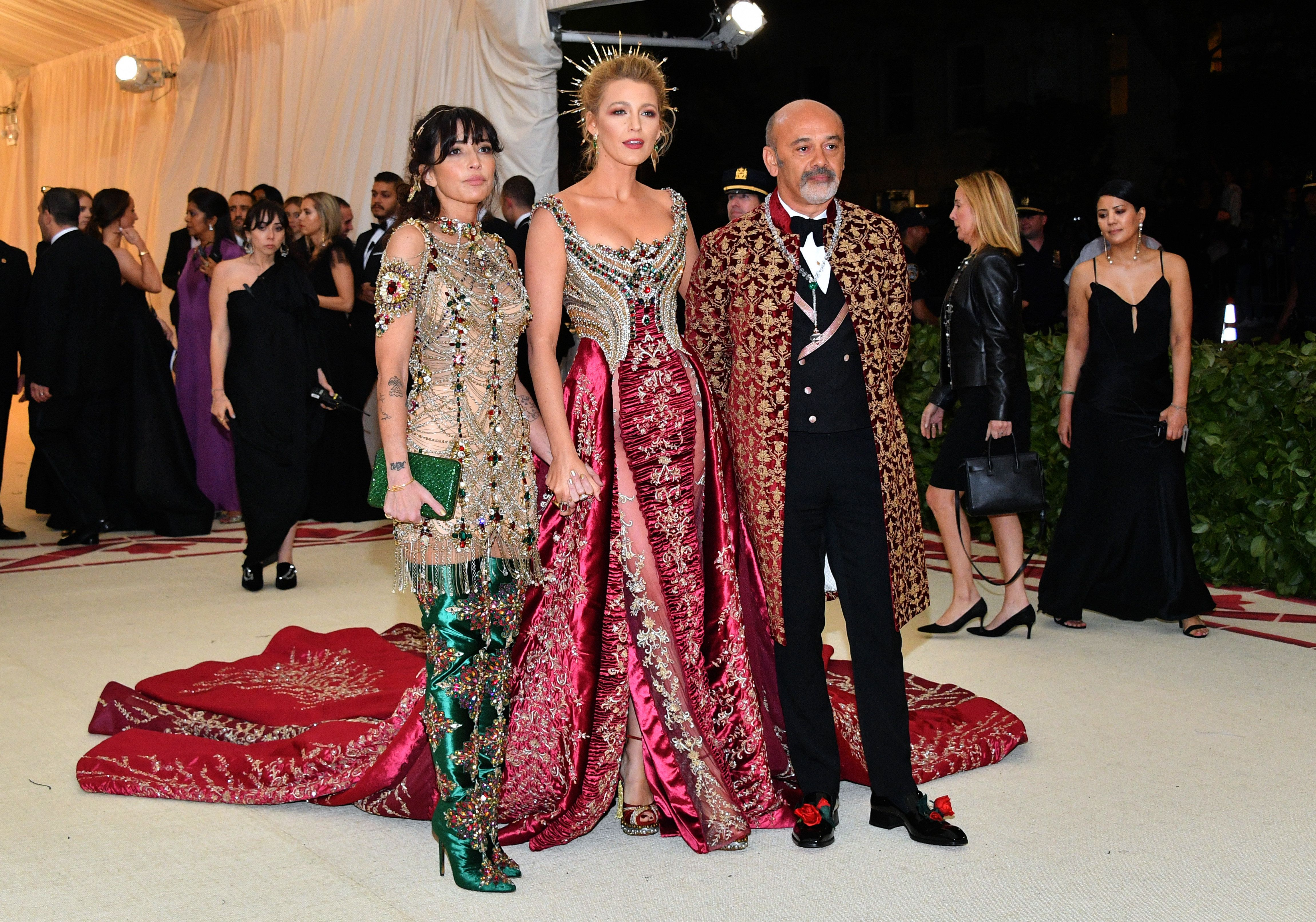 Reed Morano, Blake Lively and Christian Louboutin attends the Met Gala.