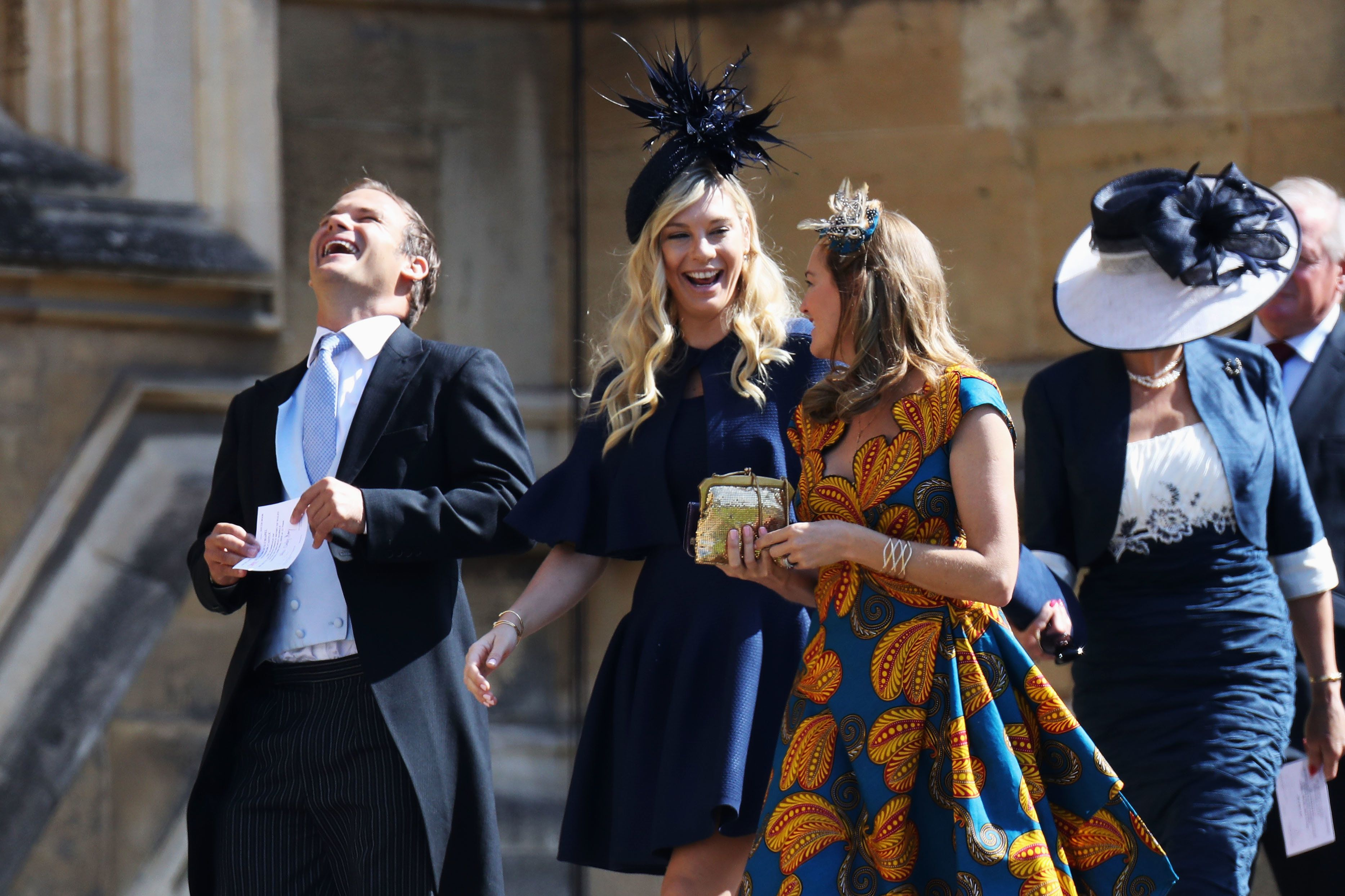 """Chelsy Davy, center, was <a href=""""https://www.huffingtonpost.com/entry/prince-harry-ex-girlfriends-royal-wedding_us_5b002402e"""
