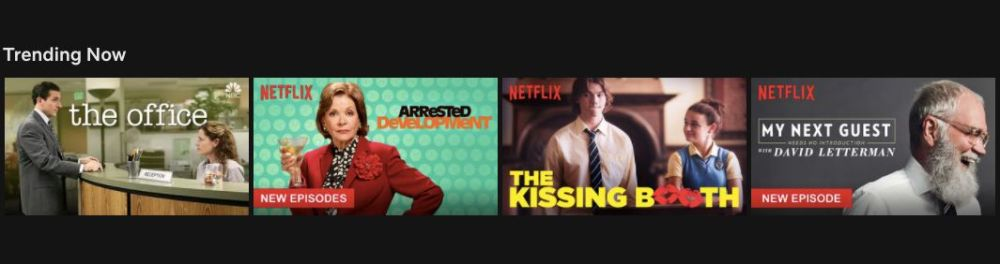 """Netflix's """"Trending Now"""" section also includes personalization and I'm not sure what it says about me that I got """"The Kissing"""