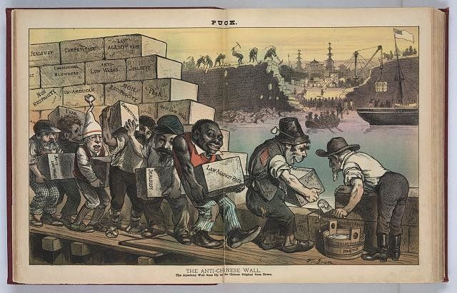 """""""The Anti-Chinese Wall,"""" an 1882 political cartoon from """"The Puck"""" magazine, which reads: """"The"""