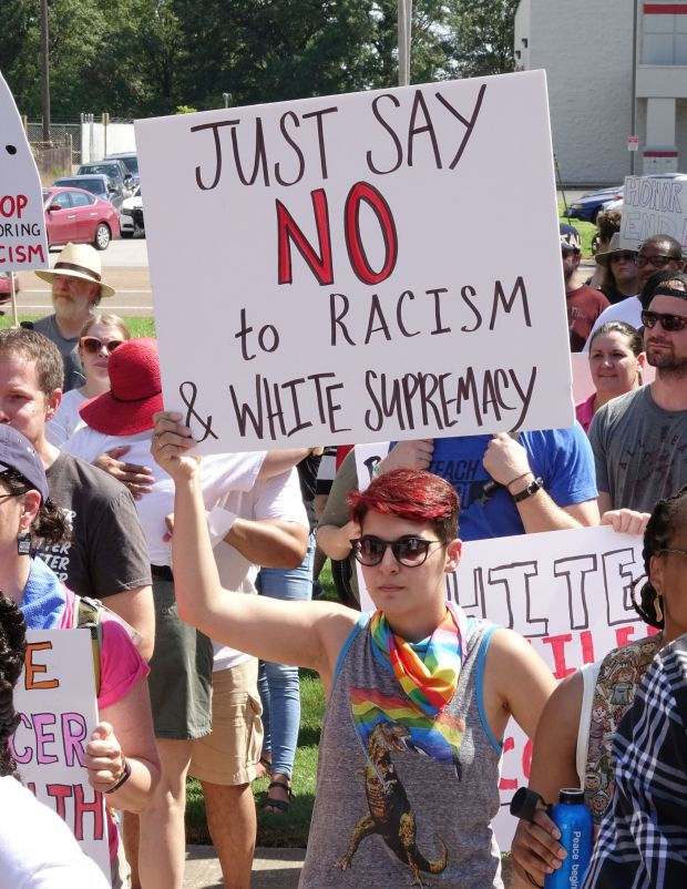 The Memphis Coalition of Concerned Citizensholds a rally on Aug. 19, 2017, near the statue of ConfederateGen. Nat