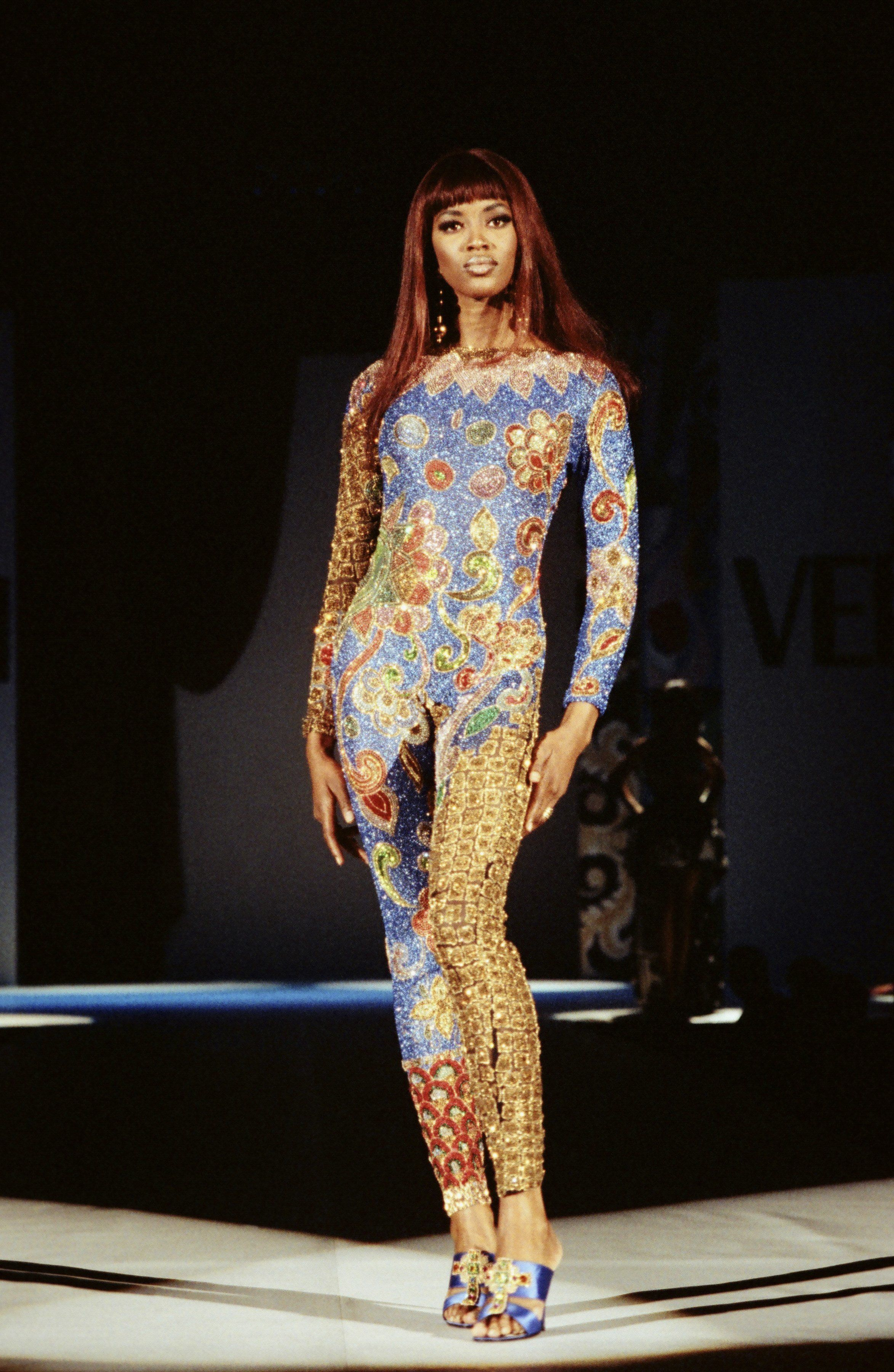 Wearing a design by Gianni Versace in a Los Angeles show.
