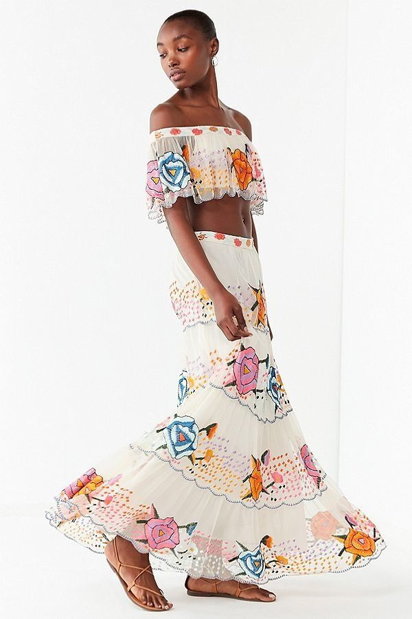 "Get the matching set <a href=""https://www.urbanoutfitters.com/shop/uo-embroidered-maxi-skirt?category=two-piece-dress-sets&am"