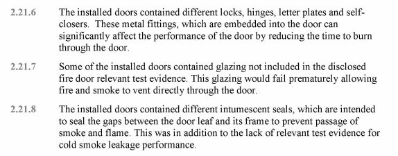 A section from Barbara Lane's report underlining faults with doors at Grenfell.