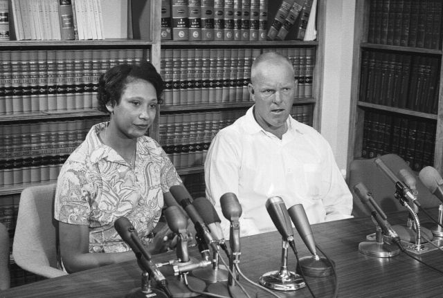 Mildred and Richard Loving answer questions at a June 1967 news conference the day after the Supreme Court ruled in their fav