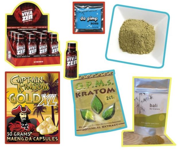 An assortment of kratom products, which are marketed in the U.S. as herbal supplements.