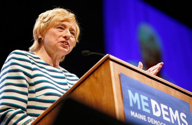 Janet Mills speaks at the biannual Democratic state convention in Lewiston, Maine.