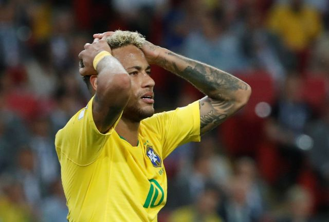 Neymar during Brazil's match against Serbia in Moscow on June 28, 2018.
