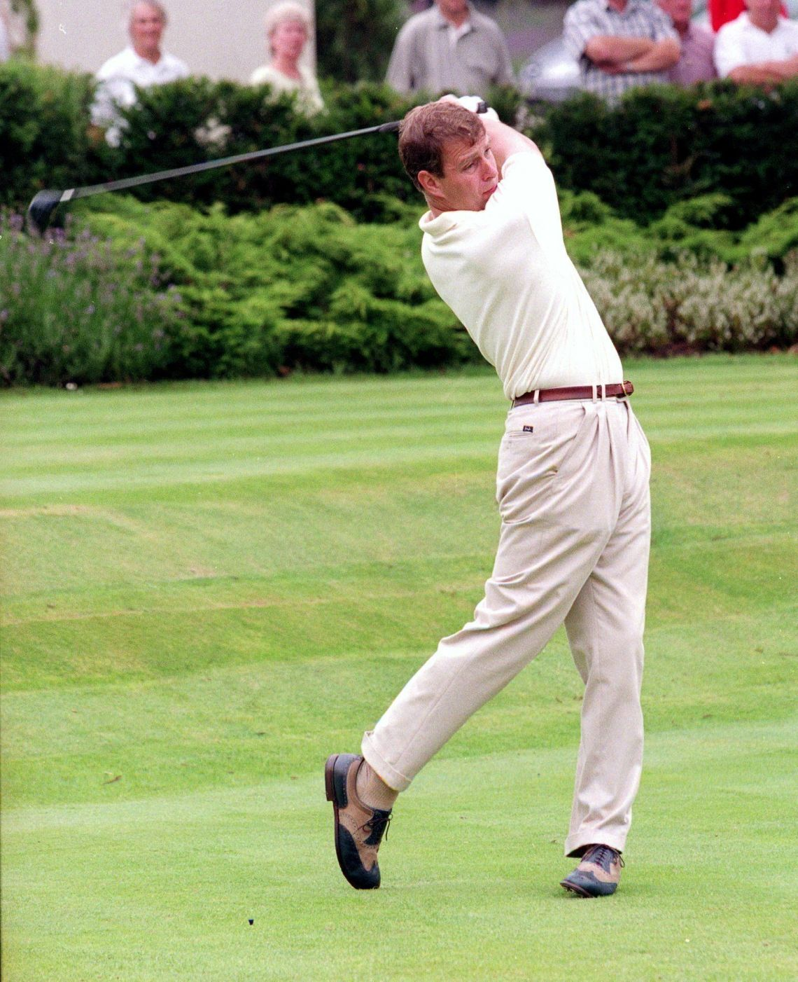 Prince Andrew playing golf at Wentworth Golf Club, Surrey, in 2005