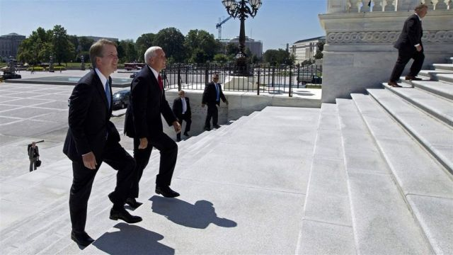Supreme Court nominee Brett Kavanaugh arrives on Capitol Hill with Vice President Mike Pence (right) to meet with senators wh
