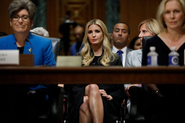 Ivanka Trump seated just behind Sen. Joni Ernst (R-Iowa) and Sen. Kirsten Gillibrand (D-N.Y.) at a hearing on paid leave. The