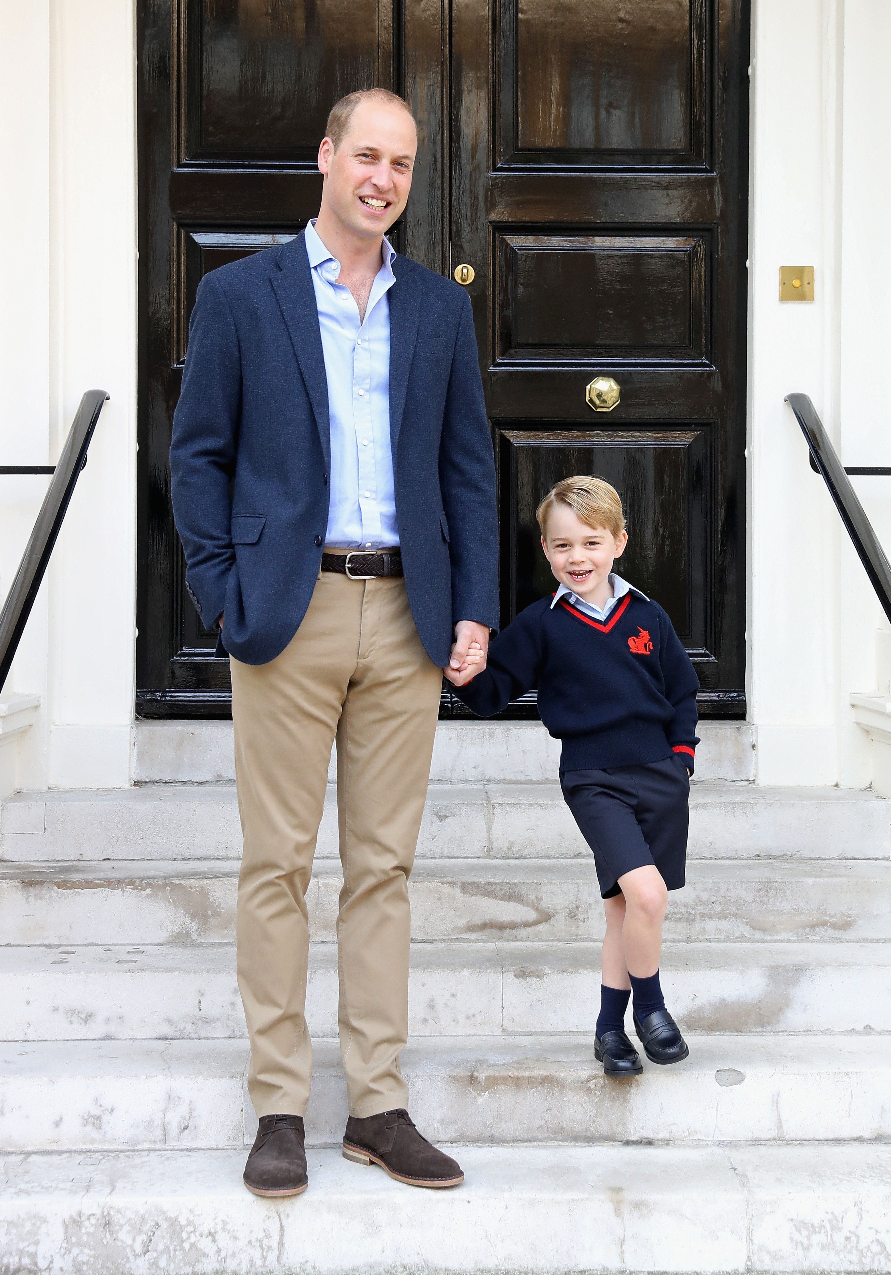 Prince William with his son Prince George on his first day of school on September 7, 2017, in London, England. The picture wa