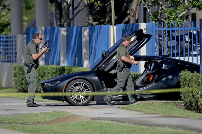 XXXTentacion's vehicle sits idle outside of a Deerfield Beach motorcycle dealership on June 18. Authorities said the 20-year-