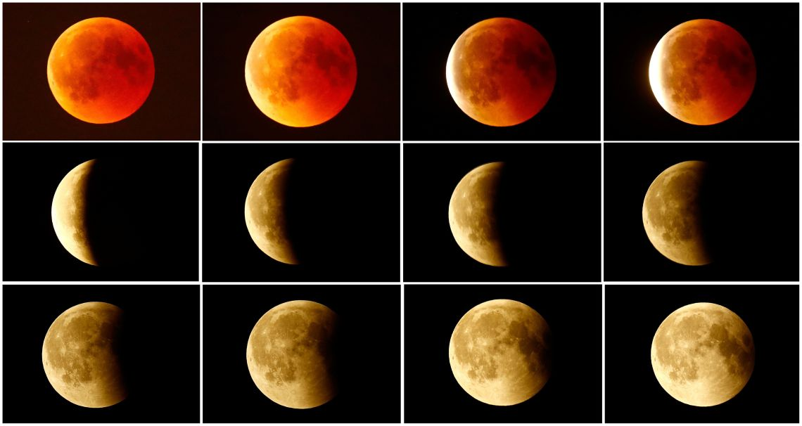 A combination photo shows the lunar eclipse from a blood moon (top L)  back to full moon (bottom right) in the sky over Frankfurt, Germany, July 27, 2018.   REUTERS/Kai Pfaffenbach